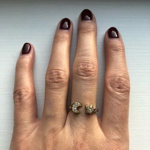 Vintage Jewelry - Vintage silver & rhinestone moon and star ring